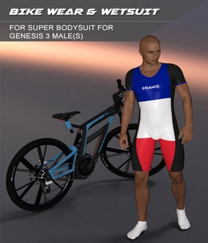 Bikewear and Wetsuit for Super Bodysuit for Genesis 3 Male 3D Figure Assets SF-Design