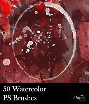 50 Watercolor PS Brushes 2D Software biala