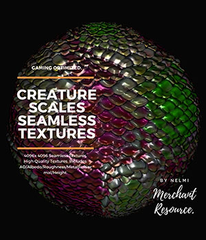 15 Creature Scales Textures with Texture Maps 2D Graphics 3D Game Models : OBJ : FBX nelmi