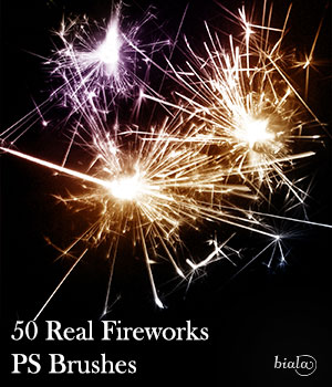 50 Real Fireworks PS Brushes 2D Graphics biala