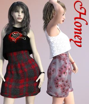 Honey Dress for G3F 3D Figure Assets chasmata