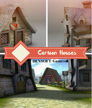 Cartoon Houses - Extended License 3D Models Extended Licenses 3D Game Models : OBJ : FBX dexsoft-games
