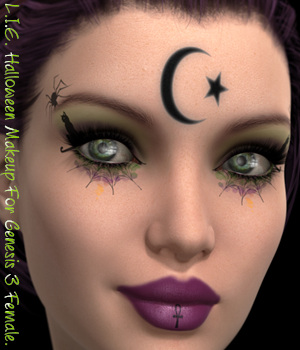 L.I.E. Halloween Makeup For Genesis 3 Female 3D Figure Assets fictionalbookshelf