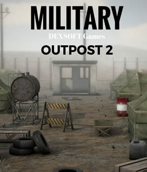 Military Outpost 2 - Extended License 3D Models Extended Licenses 3D Game Models : OBJ : FBX dexsoft-games
