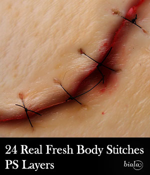 24 Fresh Body Stitches PS Layers 2D Graphics biala