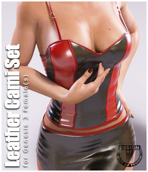 Leather Cami Set for Genesis 3 Females and Nata3 3D Figure Essentials outoftouch