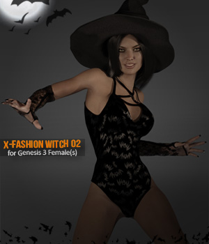 X-Fashion Witch 02 for Genesis 3 Females 3D Figure Essentials xtrart-3d