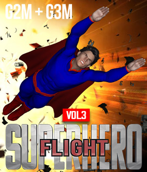 SuperHero Flight for G2M & G3M Volume 3  3D Figure Assets GriffinFX