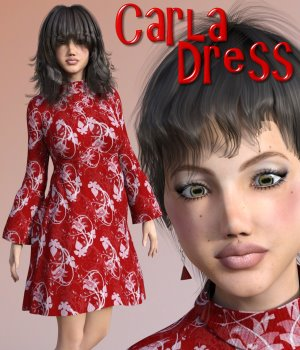 Carla Dress for G3F 3D Figure Assets chasmata