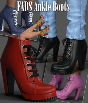 FADS Ankle Boots for Genesis 3 3D Figure Assets RPublishing