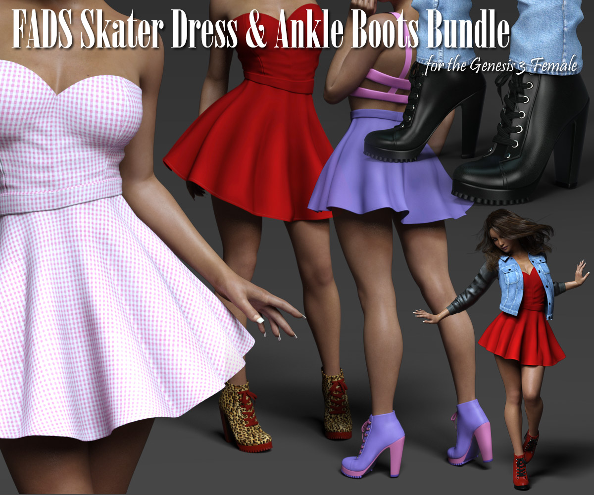 Fads Skater Dress & Ankle Boots Bundle