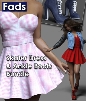 Fads Skater Dress & Ankle Boots Bundle 3D Figure Assets RPublishing