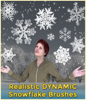 Realistic Dynamic Snowflake Brushes for Photoshop 2D CGElves