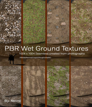 10 Seamless PBR Wet Ground Textures with Texture maps