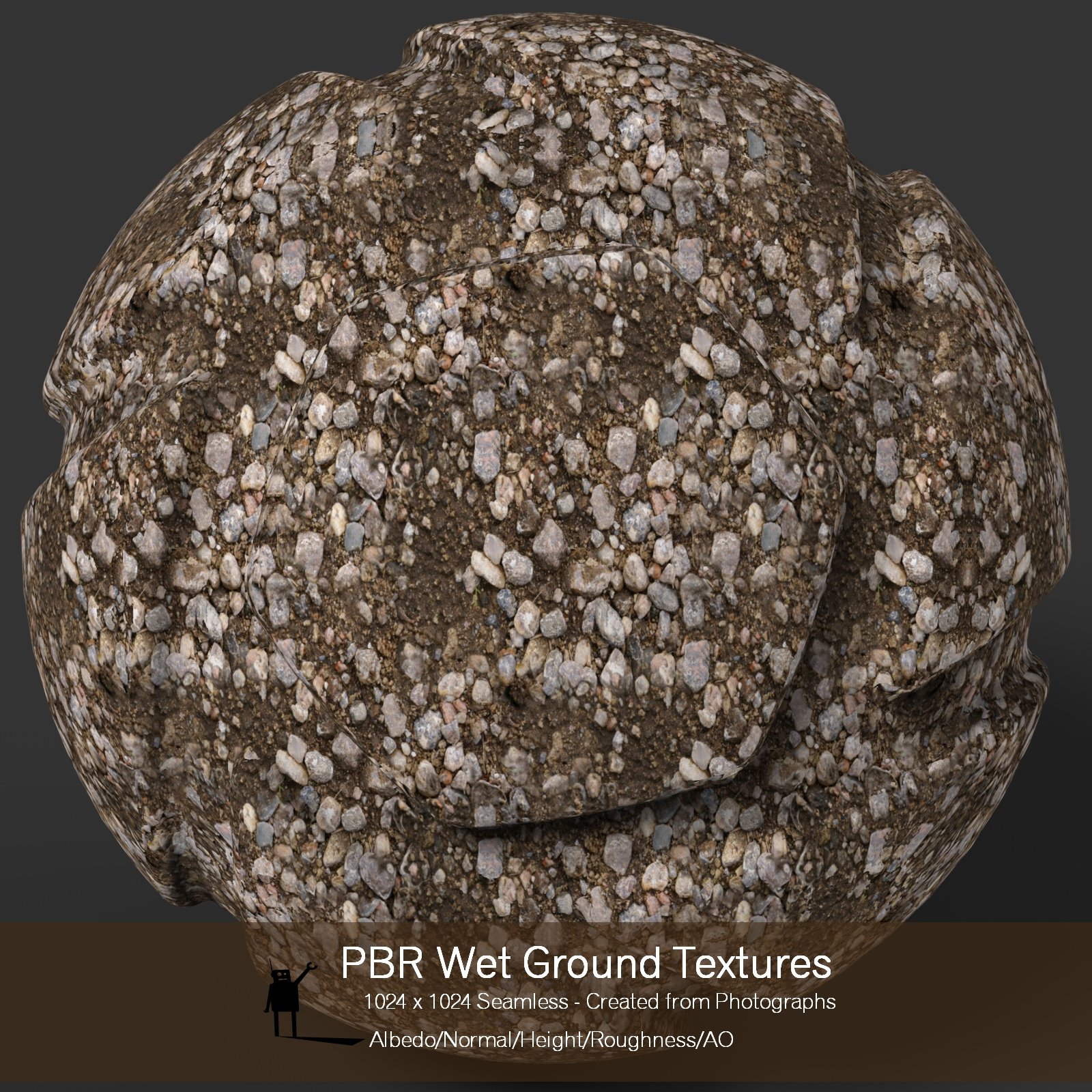 10 Seamless PBR Wet Ground Textures with Texture maps 2D