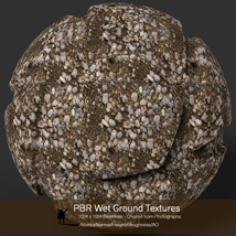 10 Seamless PBR Wet Ground Textures with Texture maps image 1