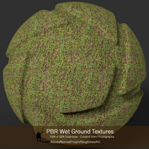 10 Seamless PBR Wet Ground Textures with Texture maps image 2