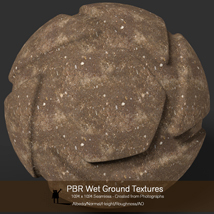 10 Seamless PBR Wet Ground Textures with Texture maps image 3