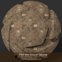10 Seamless PBR Wet Ground Textures with Texture maps image 4