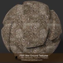 10 Seamless PBR Wet Ground Textures with Texture maps image 5