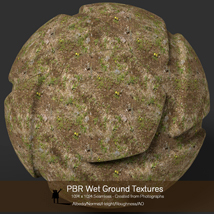 10 Seamless PBR Wet Ground Textures with Texture maps image 6