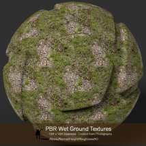10 Seamless PBR Wet Ground Textures with Texture maps image 7