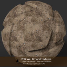 10 Seamless PBR Wet Ground Textures with Texture maps image 8