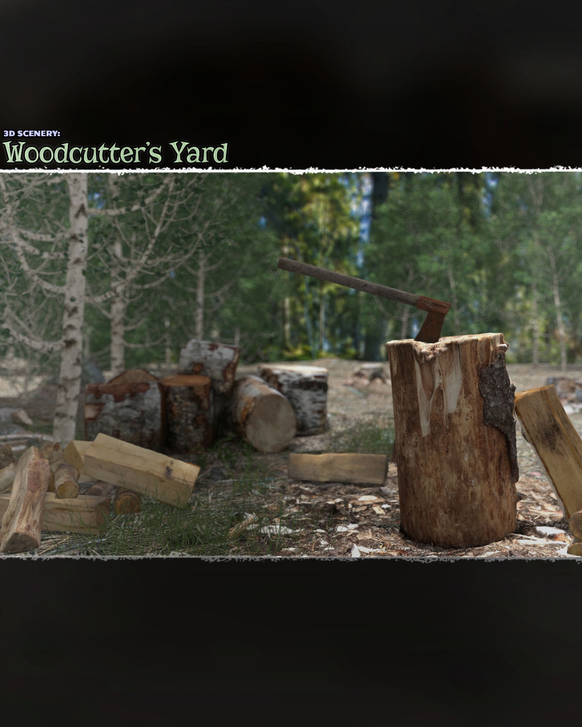 Photo Props: Woodcutter's Yard - Extended License by ShaaraMuse3D