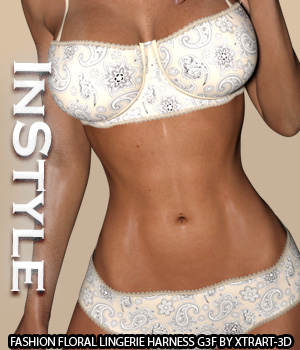 InStyle - Fashion Floral Lingerie for Genesis 3 Female(s) 3D Figure Essentials -Valkyrie-