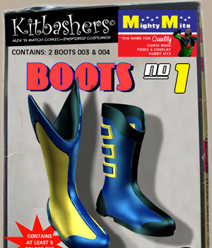 Kitbashers: Boots 003 & 004 v01 : By MightyMite for G3M 3D Figure Assets MightyMite