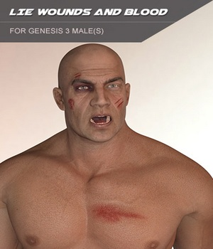 LIE Wounds and Blood Layers for Genesis 3 Males 3D Figure Essentials SF-Design