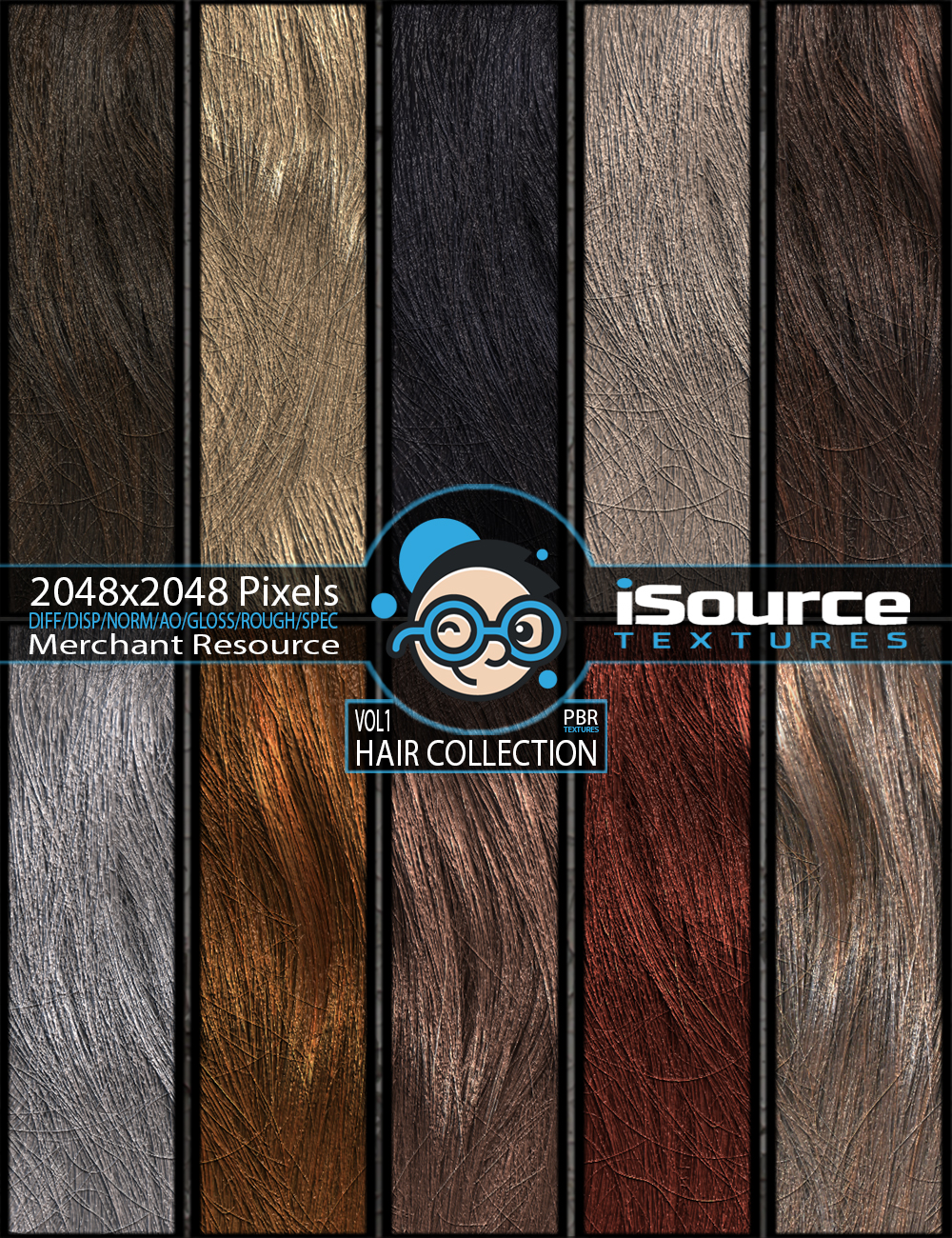 Hair Collection - Vol1 (PBR Textures) Merchant Resource by KobaAlexander