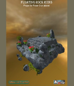 Floating Rock Ruins Poser 3D Models JeffersonAF