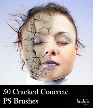 50 Cracked Concrete PS Brushes 2D biala