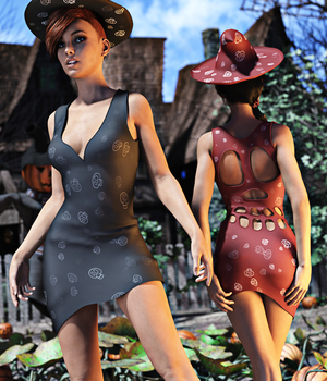 Skull Dress for Genesis 3 Female 3D Figure Assets Sedor