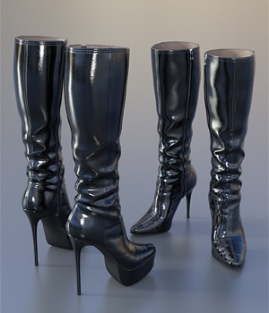 Knee Boots For G3F 3D Figure Assets idler168