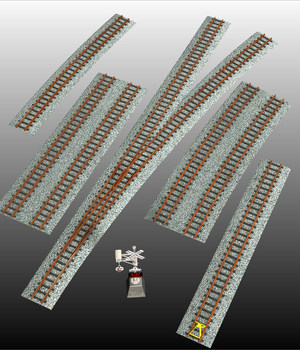 RAILWAY TRACKS BUNDLE - props for Poser and .OBJ 3D Models Nationale7