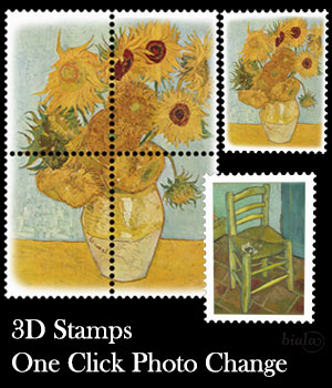 3D Stamps One Click Photo Change 3D Models biala