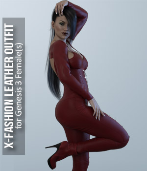 Fashion Leather Outfit for Genesis 3 Females 3D Figure Assets xtrart-3d