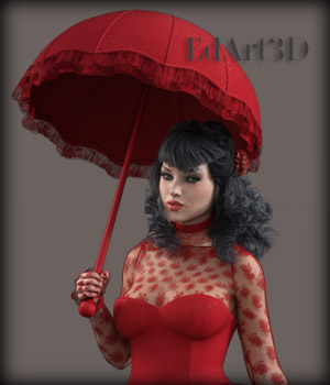 Morphing Umbrella  and Poses for G3F 3D Figure Essentials EdArt3D