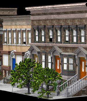 Brownstone Street Scene 1 (for iClone) 3D Models VanishingPoint