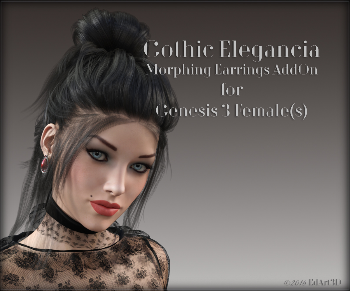 Gothic Elegancia Morphing Earrings AddOn for G3F by EdArt3D