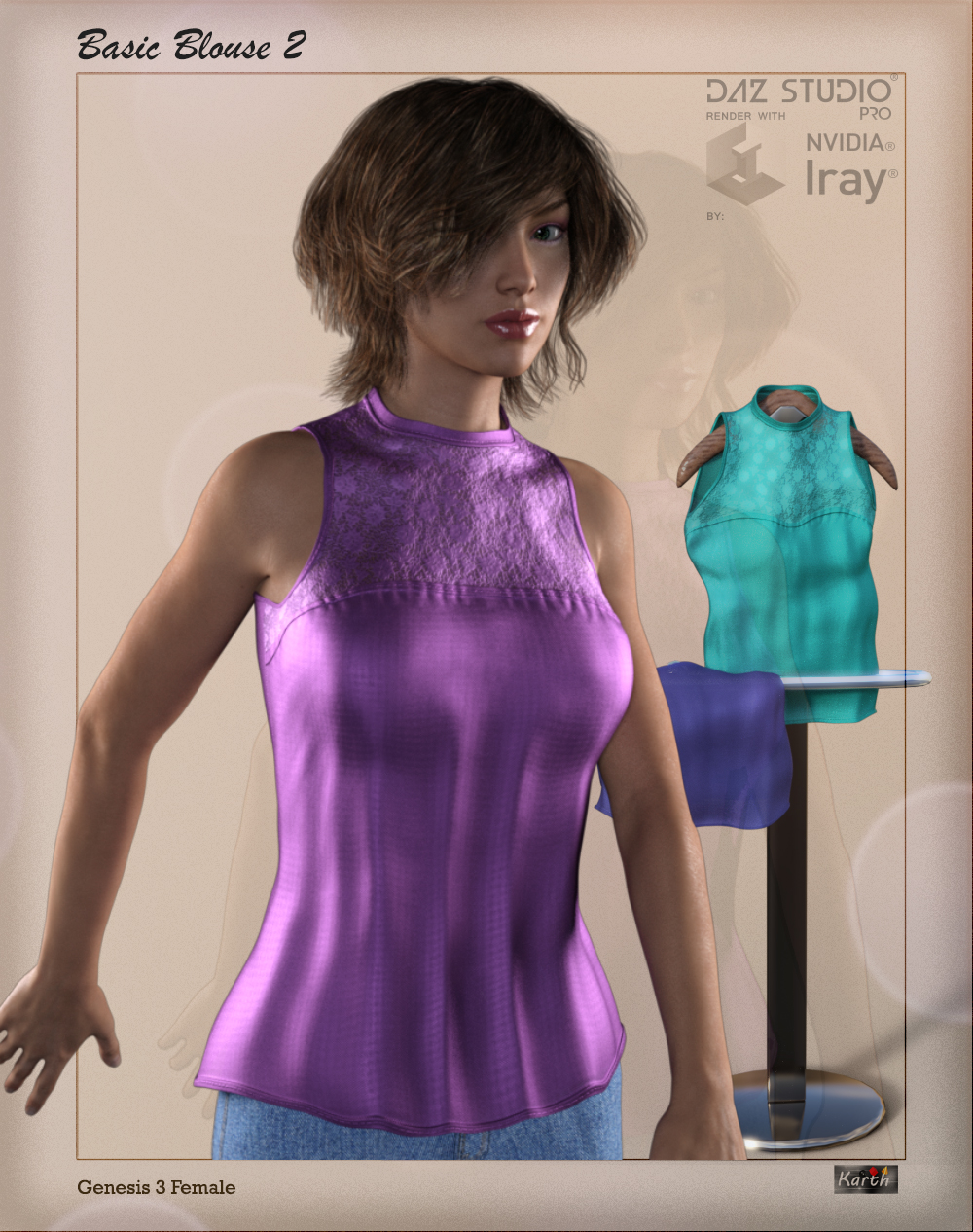 Basic Blouse 2 for Genesis 3 Female by Karth