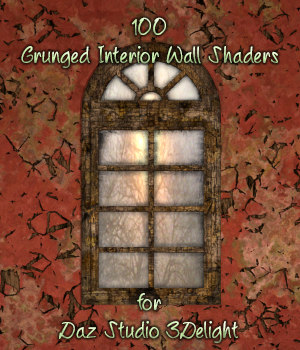 Grunged Interior Wall Shaders For Daz Studio 3Delight 3D Figure Assets fictionalbookshelf