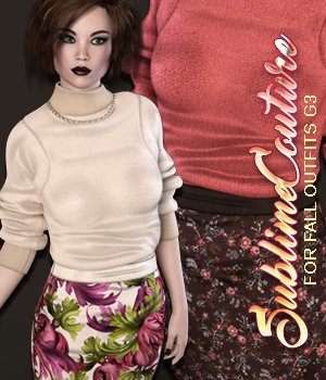 Sublime Couture: Fall Outfits Genesis 3 Female(s) 3D Figure Assets 3DSublimeProductions