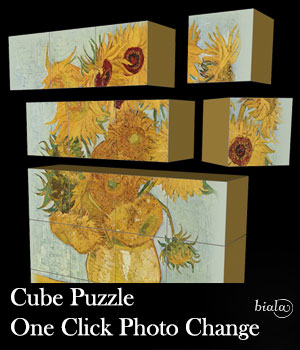 Cube Puzzle One Click Photo Change 3D Models biala