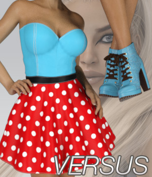 VERSUS - Fads Skater Dress & Ankle Boots Bundle 3D Figure Essentials Anagord