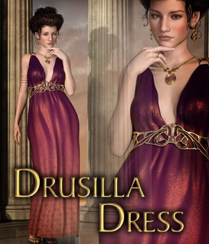 Drusilla Dress for Genesis 3 Female  3D Figure Assets KarenGrant