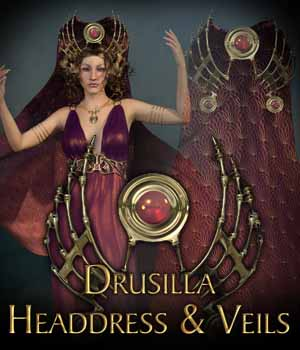Drusilla Headdress for Genesis 3 Female  3D Figure Assets KarenGrant