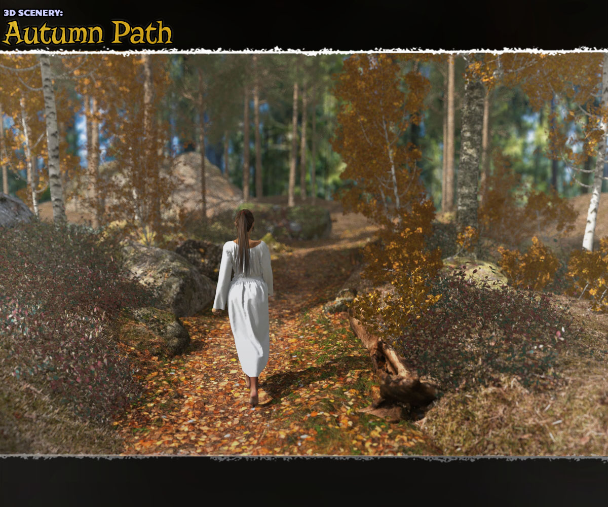 3D Scenery: Autumn Path by ShaaraMuse3D